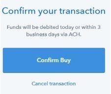 Подтверждение транзакции на Coinbase