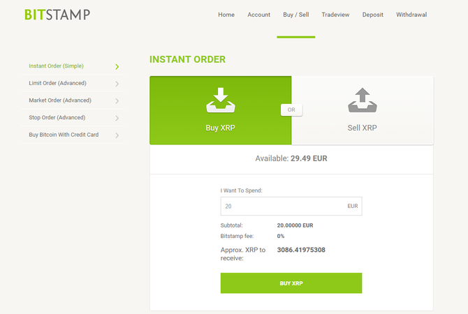 Как купить Ripple на Bitstamp