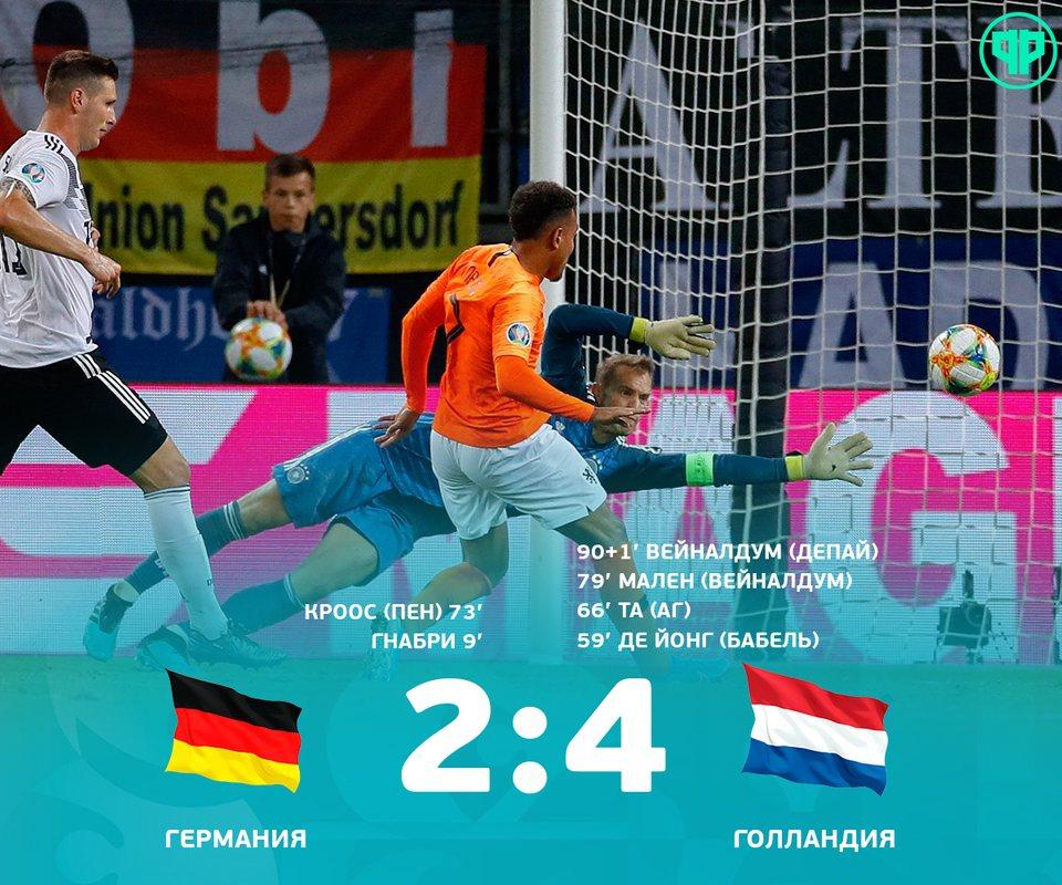Германия проиграла Голландии 2:4