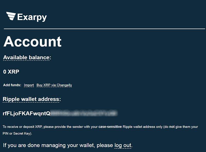 Интерфейс Exarpy — онлайн-кошелька для хранения Ripple