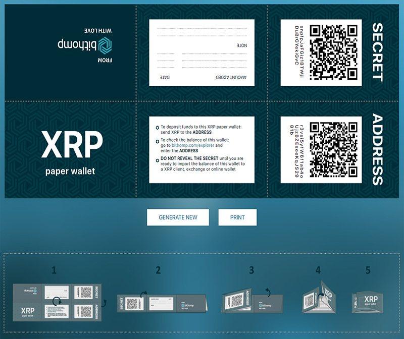 Cоздание бумажного Ripple-кошелька на сайте эксплорера Bithomp