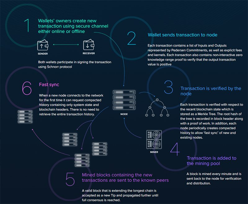 Схема работы блокчейна Beam