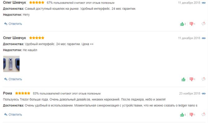 Отзывы о кошельке Trezor // Источник: rozetka.com.ua