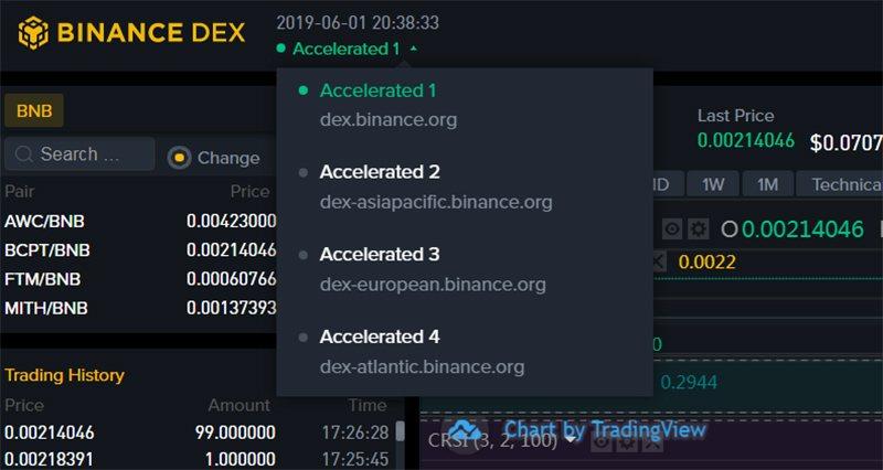 Выбор регионального поддомена Binance DEX