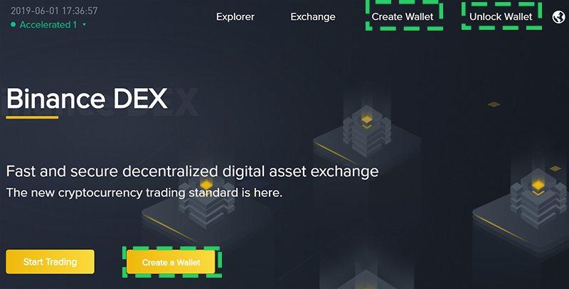 Кнопки создания и разблокировки кошелька на главной странице сайта Binance DEX