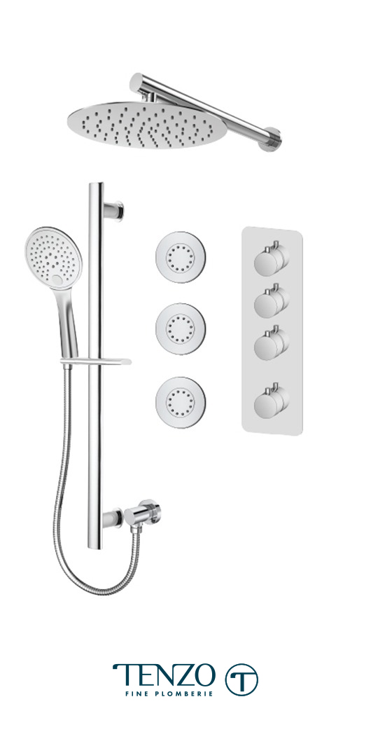 RUT43-572168-CR - Ensemble de douche T-Box, 3 fonctions, Rundo