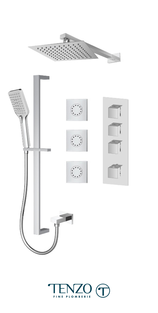 SLT43-572168-CR - Ensemble de douche T-Box, 3 fonctions, Slik