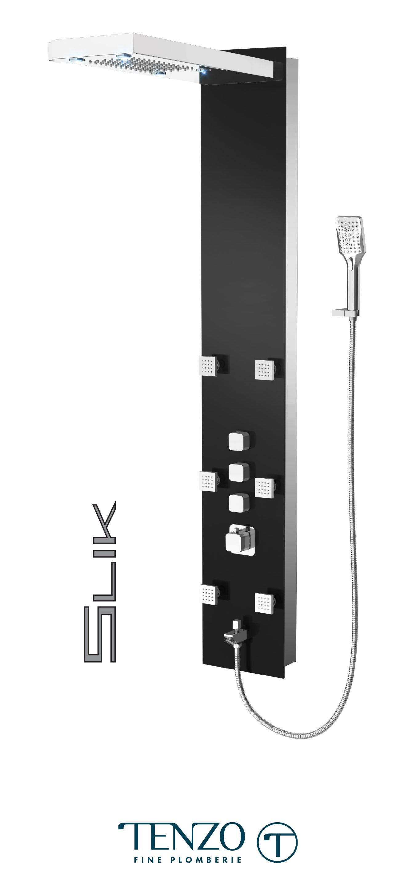 TZG1-XX-SL-3L - Colonne de douche - Verre trempé, 3 fonctions, Slik