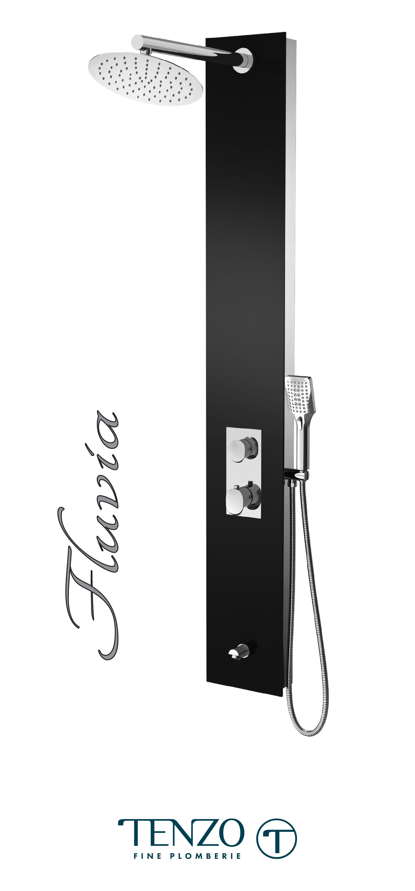 TZG13-XX-FL-SX - Shower columns - Tempered Glass, 3 functions