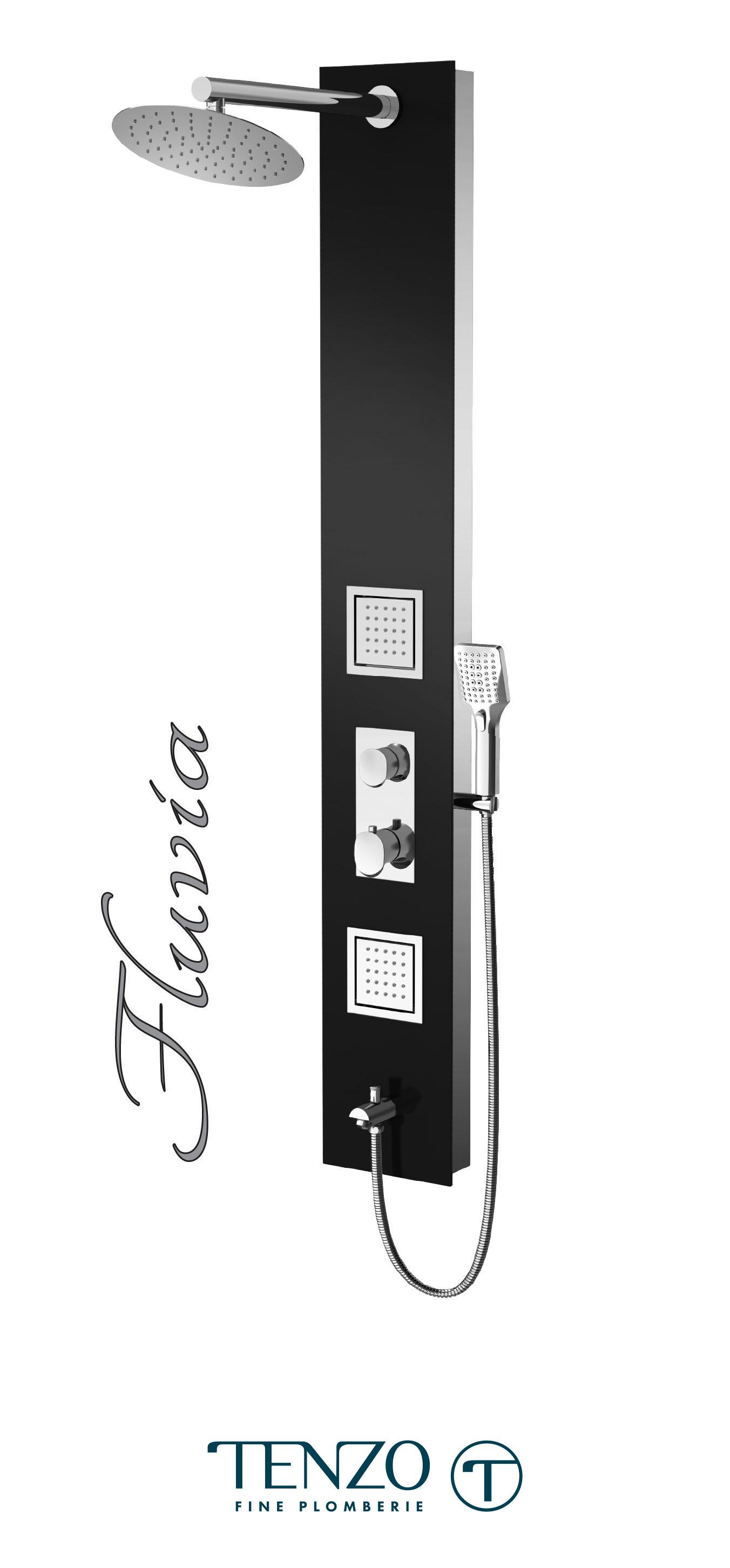 TZG3-XX-FL-SX - Colonne de douche - Verre trempé, 3 fonctions, Fluvia