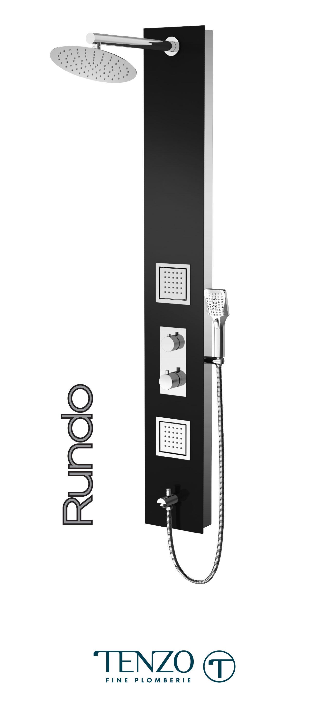 TZG3-XX-RU-SX - Colonne de douche - Verre trempé, 3 fonctions, Rundo