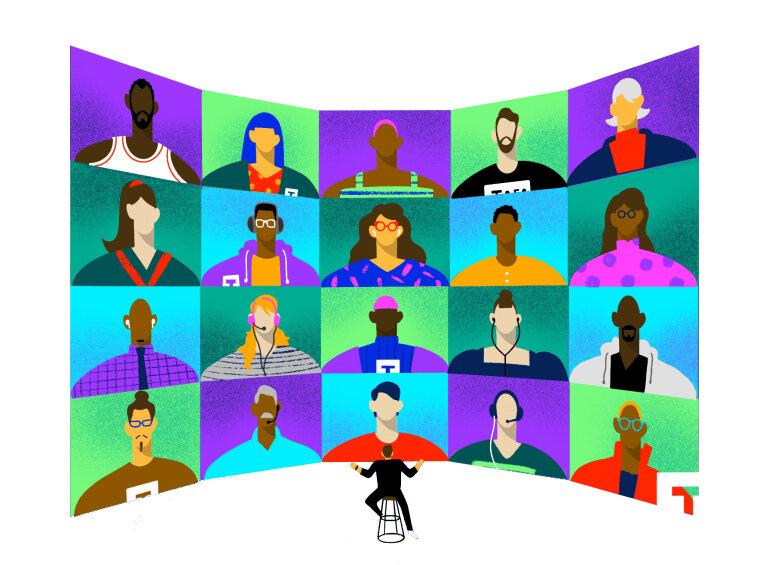 Ilustração de vinte pessoas com etnias, cores de cabelos e roupas diferentes, simulando uma tela de videoconferência com uma pessoa no meio assistindo. No canto inferior direito, a marca da Tera.