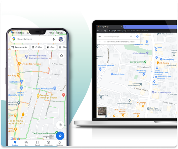 picture maps on the smartphone and laptop