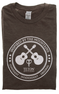 "Brown Teton Guitars T-shirt 2017 ""Inspired by the Mountains"""
