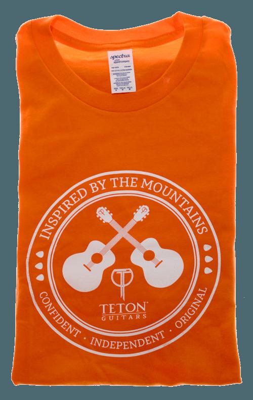 "Orange Teton Guitars T-shirt 2017 ""Inspired by the Mountains"""