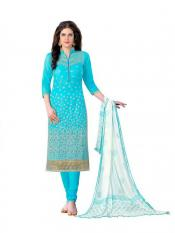 Sky Blue Cotton Embroidered Party Wear Salwar Suit Image