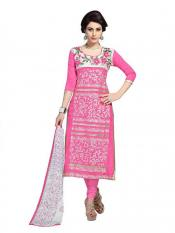 Pink Color Womens Cotton Embroidered Dress  Image