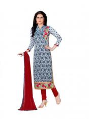 Grey Cotton Embroidered Party Wear Salwar Suit Image