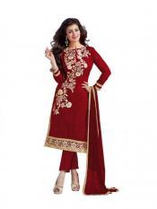 Maroon Color Womens Chanderi Dress Material Image