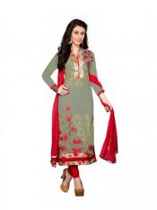 Mehendi Green Cotton Embroidered Straight Suit Image