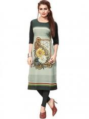 Dark Green Color Crepe Kurti