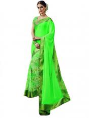 Neon Green Color Traditional Saree