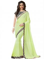 Light Green and Black Color Georgette Saree