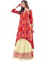 Red and Orange Designer Kurti