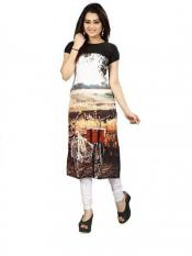 Black  Brown Color Crepe Kurti Image