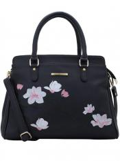 Lapis O Lupo Synthetic Flower Embroidery Women Handbag -Black