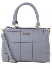 Lapis O Lupo Synthetic Sewing Embroidery Women Handbag -Grey