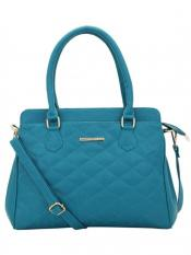 Lapis O Lupo Synthetic Quilt Women Handbag -Turquoise