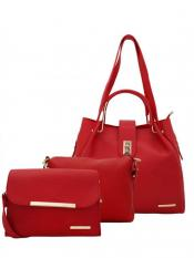 Lapis O Lupo Women's Combo Synthetic Handbag, Sling Bag and Pouch - Red