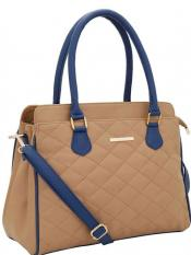 Lapis O Lupo Synthetic Quilt Women Handbag -Beige