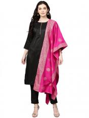 Black with Bright Pink Kurta Set  S Image