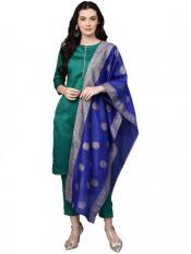 Sea Green Classy Faux Silk Combo with Blue Designer Faux Silk Dupatta