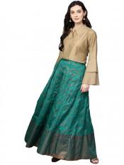 Sea Green  Beige Indo Western Shirt with Image