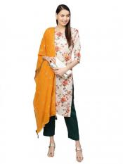 Women Off White Printed Kurta Set