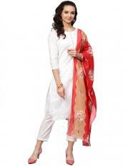 Ahalyaa White Straight Cotton Kurta Sets