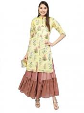Women Yellow Metalic Printed Kurta with Skirt