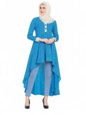 Women's Firozy and White Asymmetrical Dress
