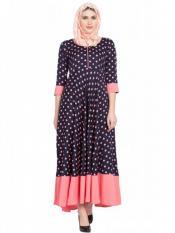 Women's Navy Blue With Pink Anarkali dress
