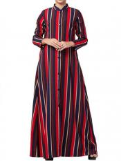 Mushkiya Crepe Long Abaya With Stripes