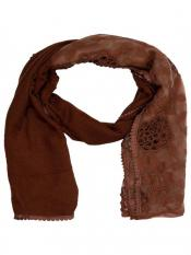 Stole for Women - Cotton Half Net Stole - Brown