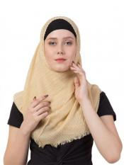 Stole for Women Crinkled Cotton Mesh Sparkling Women's Stole Yellow