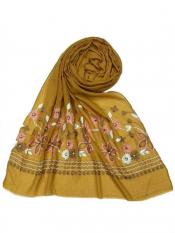 Stole for Women Designer Flower Cotton Stole Yellow