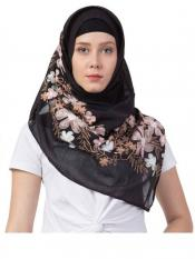 Stole for Women Designer Flower Cotton Stole Black