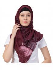 Stole For Women Rich Cotton Designer Diamond Work Stole Maroon