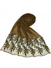 Stole for Women Premium Designer Leaf Cotton Stole Brown
