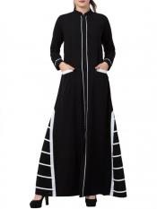 Mushkiya Nida Matte Unique Design Abaya with Front Pockets in Black